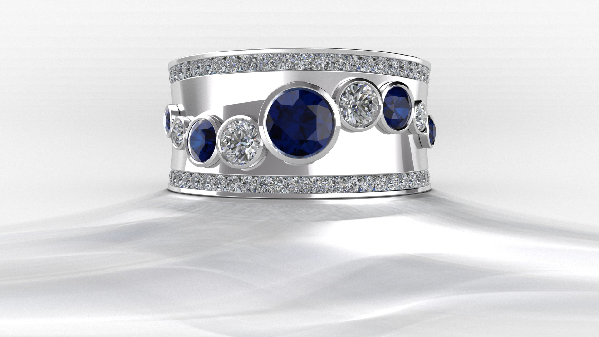 BW Bubble Ring - Sapphire and Diamond HD render